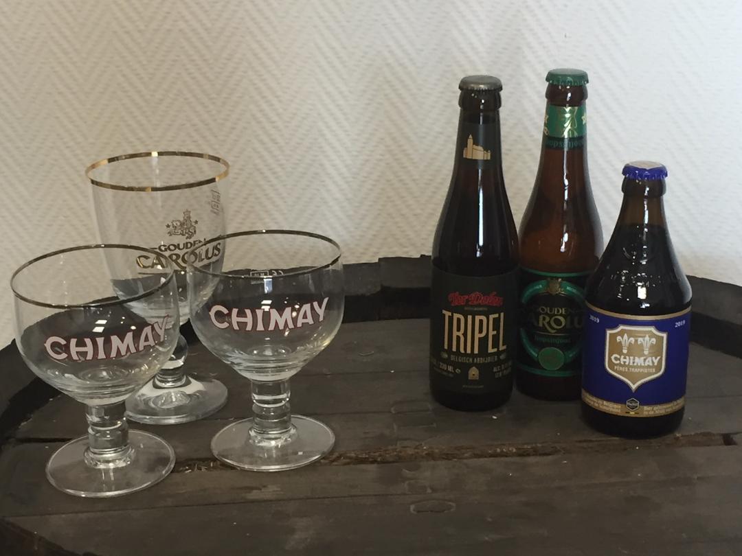 3 Bières 33cl + 1 Chimay bleue + 1 Carolus Hopsinjoor + 1 Ter Dolen Triple + 3 Verres (Lambersart 59)