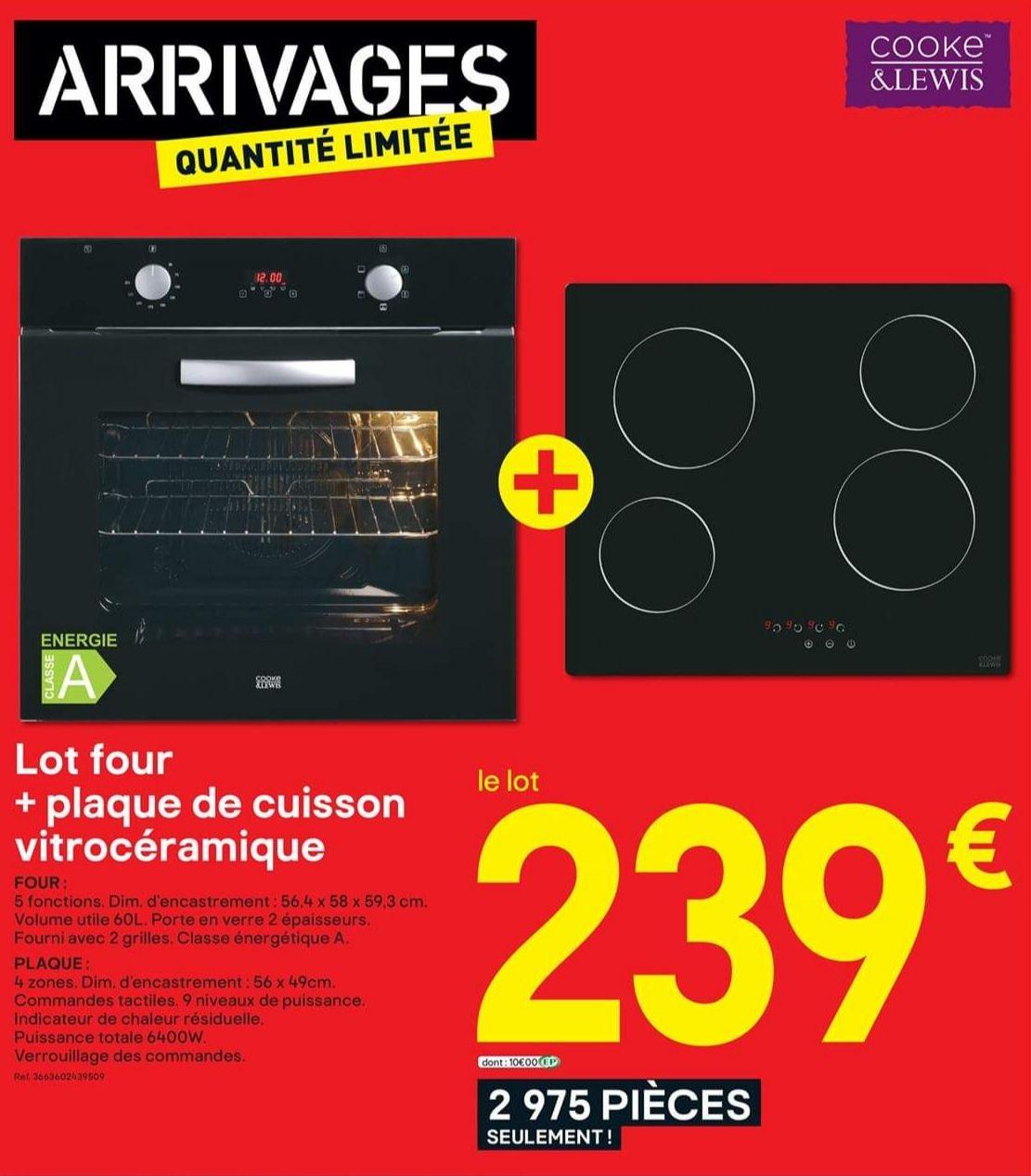 Pack Cooke & Lewis - four (60 L) + plaque de cuisson vitrocéramique (4 zones, 6400 W)