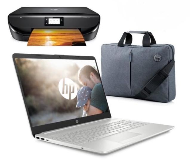 "PC Portable 15.6"" HP 15-dw0080nf - HD TN, i3-7020U, RAM 4 Go, HDD 1 To + SSD 128 Go + Imprimante HP Envy 5010 + Sacoche (Via ODR 100€)"