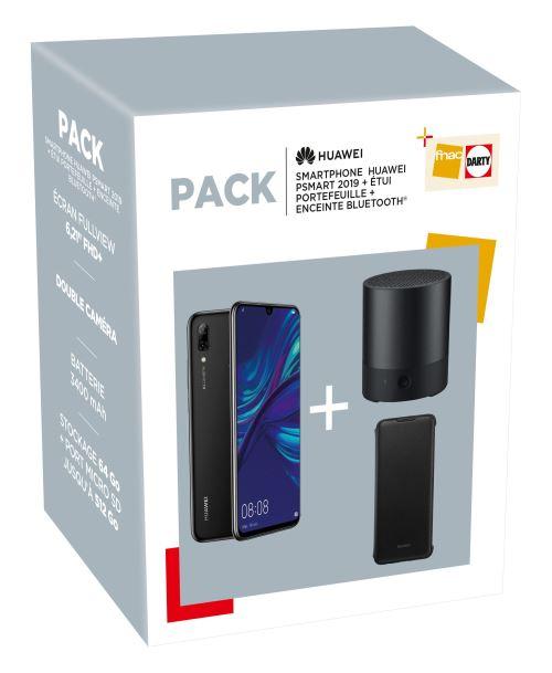 "Pack Smartphone 6,21"" Huawei P Smart 2019 - 64 Go, Double SIM, + Enceinte Bluetooth Noir + Etui portefeuille Noir"