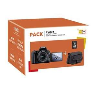 Pack Reflex Canon EOS 200D Noir + Objectif EF-S 18-55 mm f/4.5-5.6 IS STM + Sac + Carte SD 16 Go