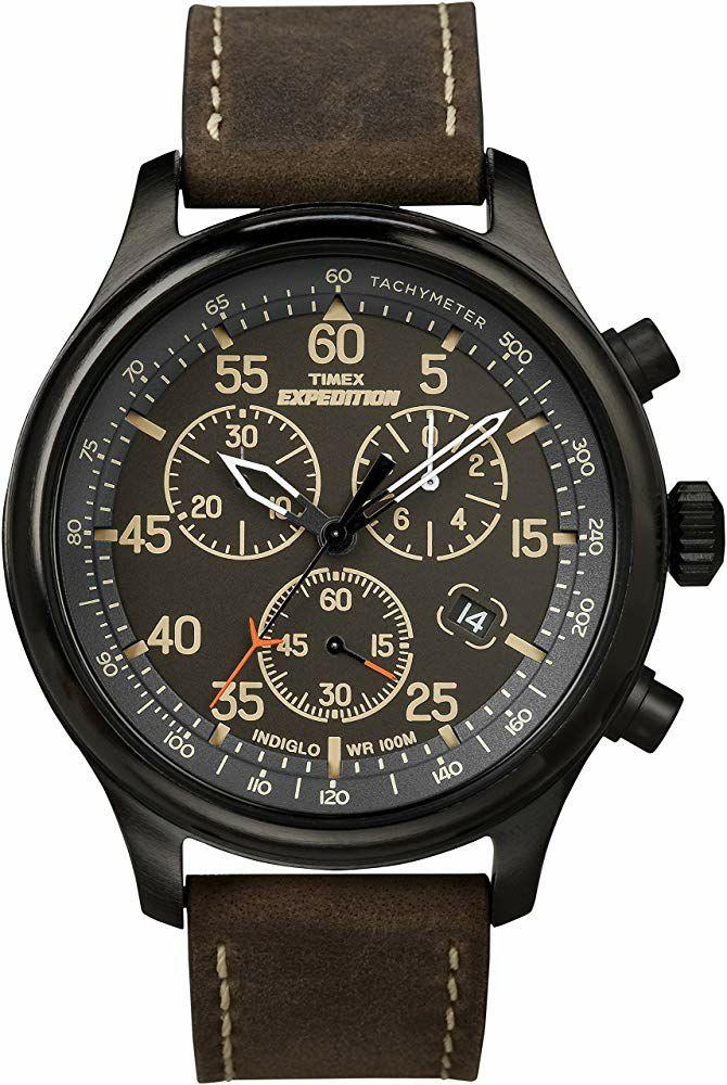 Montre Analogique Quartz Timex Expedition T49905 - 43 mm, 10 ATM, Bracelet en Cuir Marron