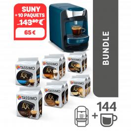Cafetière à capsules Bosch Tassimo Suny blue + lot de 10 paquets de dosettes de café (différents types)