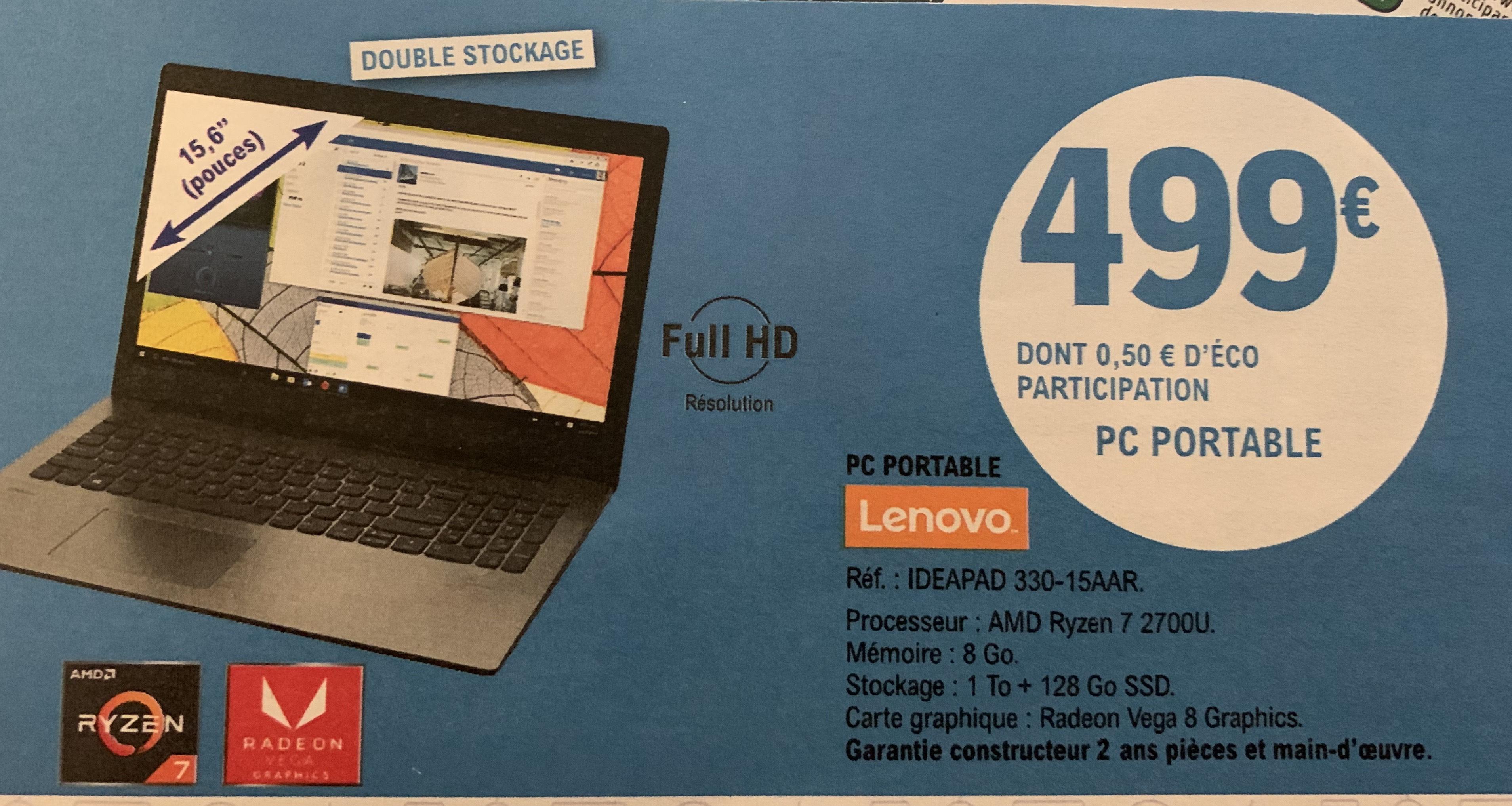 "PC Portable 15.6"" Lenovo Ideapad 330-15AAR - Ryzen 7, 8 Go de Ram, 1 To + 128 SSD, Vega 8 - Osny (95)"