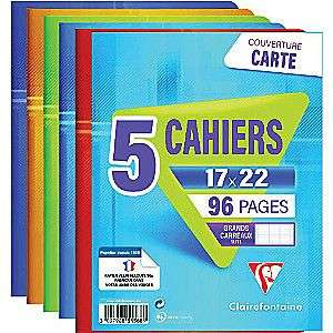 5 cahiers Clairefontaine - 17×22cm