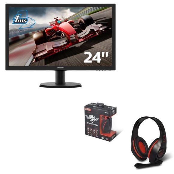 "Ecran 23.6"" Philips 243V5LHSB/00 + Casque Filaire PRO-H5 Red - Full HD, LED, 1ms"