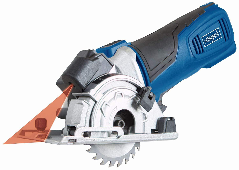 Coffret mini-scie circulaire laser Scheppach PL285 (8.9 cm, 600 W) - avec 3 lames, base à onglet et rails connectables