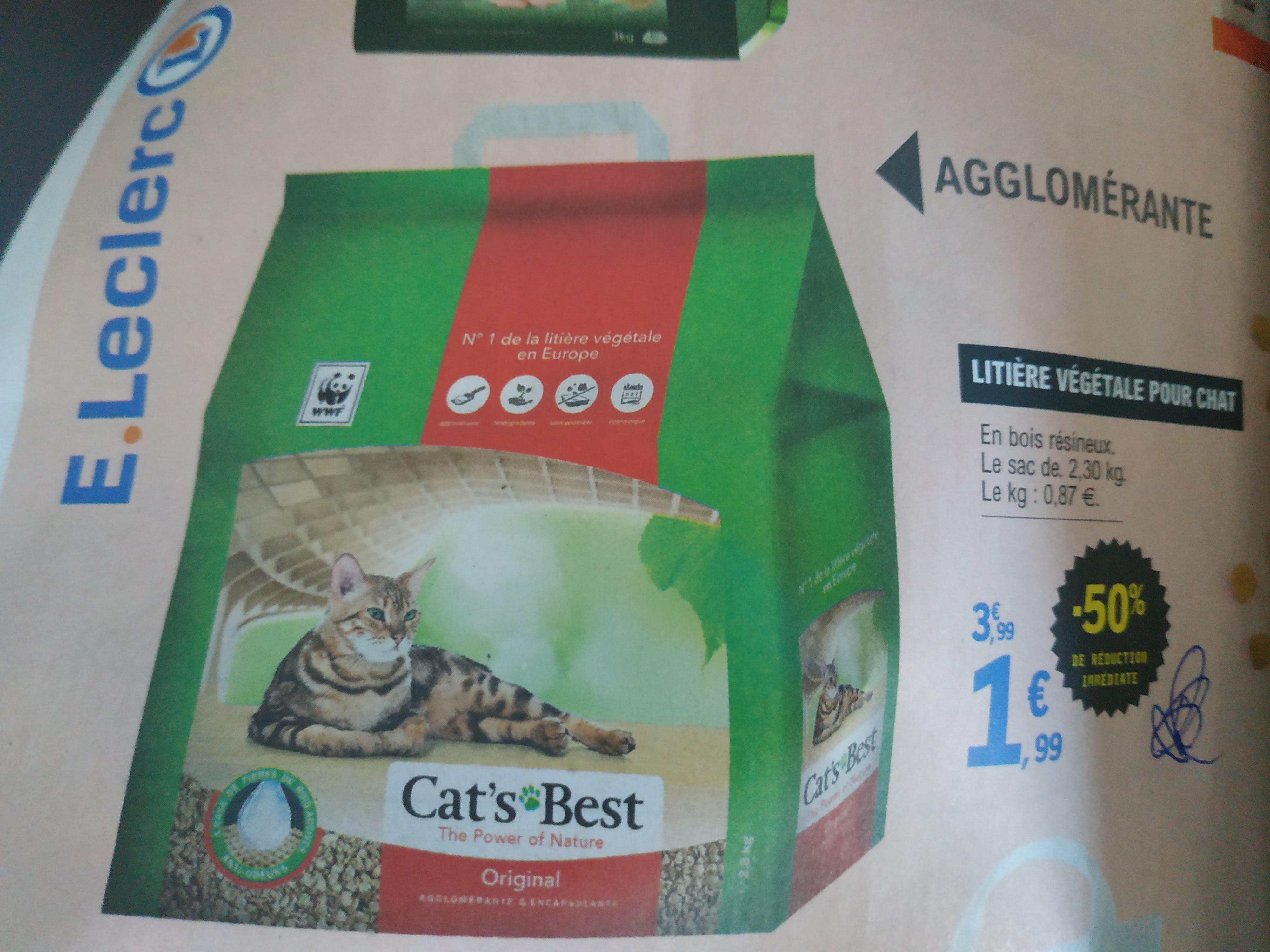 Sac de litière végétale pour chat Cats Best Original - 2,3 Kg