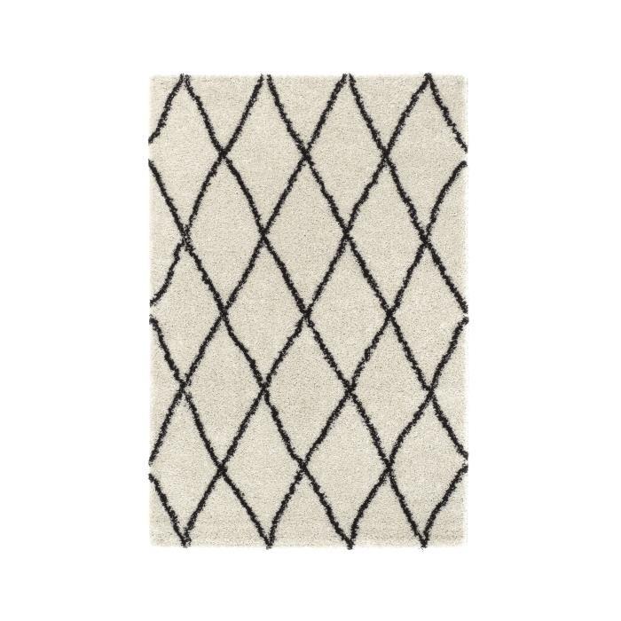 Tapis de salon Asma Shaggy - Style berbère, 150 cm x 220 cm, Crème et marron