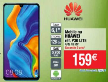 "Smartphone 6.15"" Huawei P30 Lite - 128 Go, Noir (Caen 14, Nancy Houdemont 54, Reims Cormontreuil 51 & Villers-Semeuse 08)"
