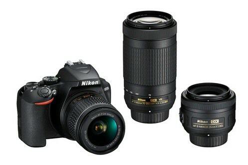 Appareil Photo Nikon Reflex Kit D3500 + AF-P DX 18-55 F/3.5-5.G VR + AF-P DX 70-300 F/4.5-6.3G ED VR + Objectif Nikon AF-S DX 35 MM F/1,8G