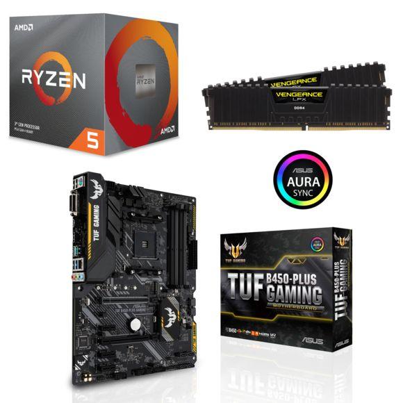 Pack processeur AMD Ryzen 5 3600 (3.6 GHz) + carte mère Asus TUF B450-Plus Gaming + kit RAM Ballistix Sport LT DDR4-3000 CL15 SR 16 Go (2x8)
