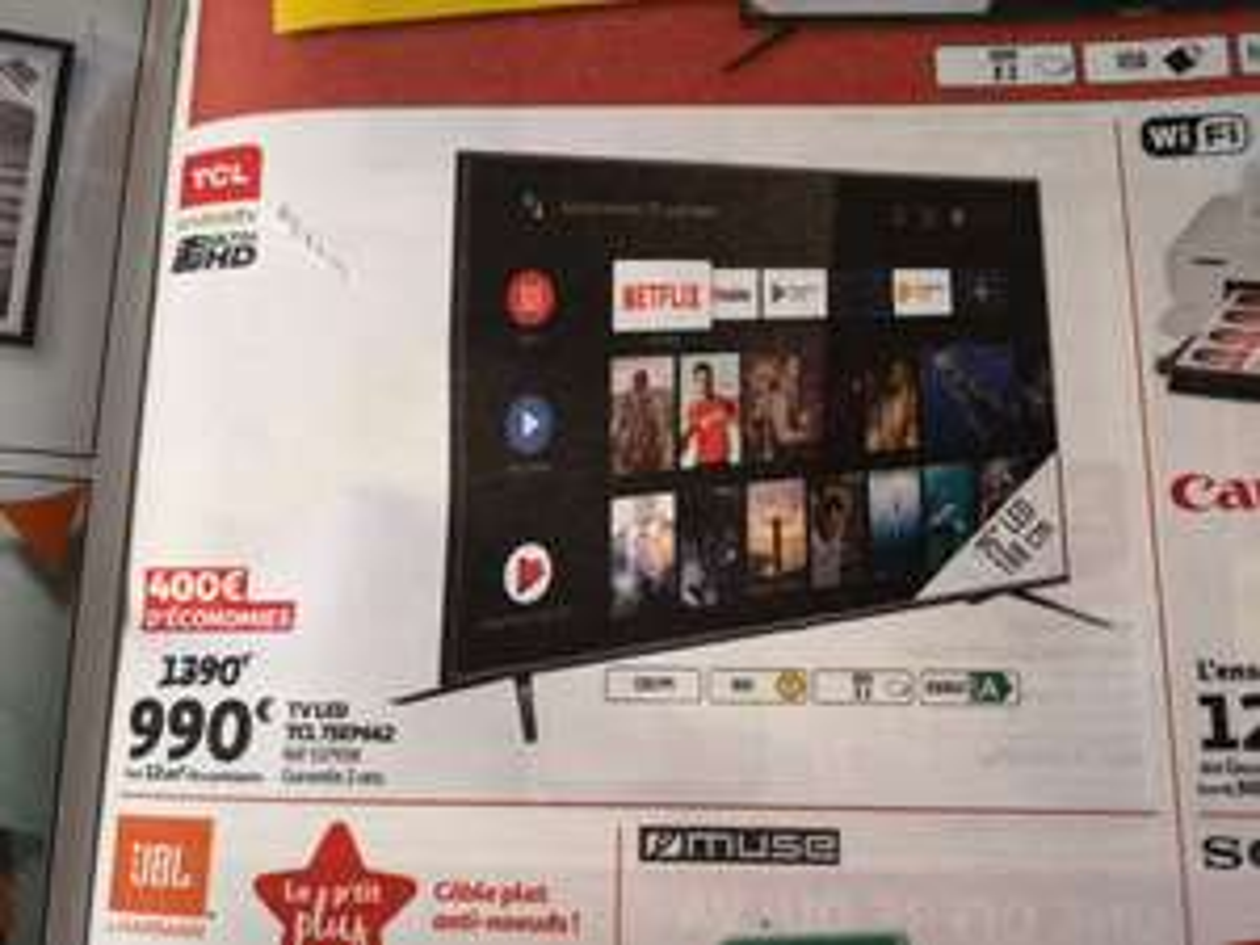 "TV 75"" TCL 75EP662 - UHD 4K, HDR, Smart TV, 3xHDMI"