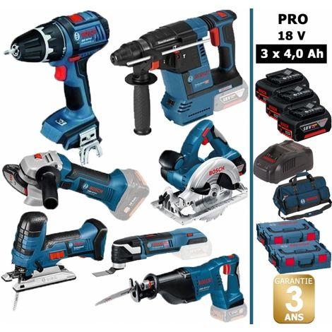 Pack 18V 7 machines Bosch : Perceuse + Perforateur + Meuleuse + Scie sauteuse + Scie circulaire + Scie sabre  + 3 Batteries 4.0 A