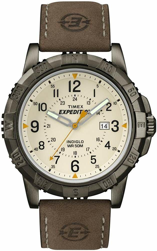 Montre analogique Timex Expedition T49990D7 - 43.5 mm, 5 ATM, bracelet en cuir marron (frais de port inclus)