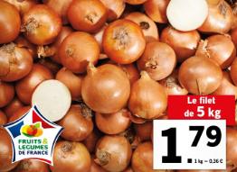 Filet de 5Kg d'oignons jaunes - Origine France