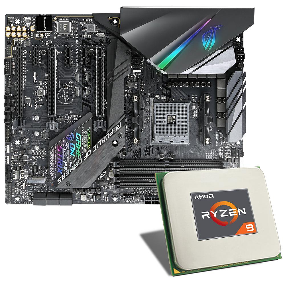 Processeur AMD Ryzen 9 3900X + Carte mère Asus Rog Strix Gaming-F + Watercooling AIO 120mm