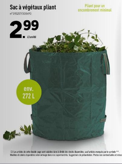 Sac à végétaux pliant - 272 L