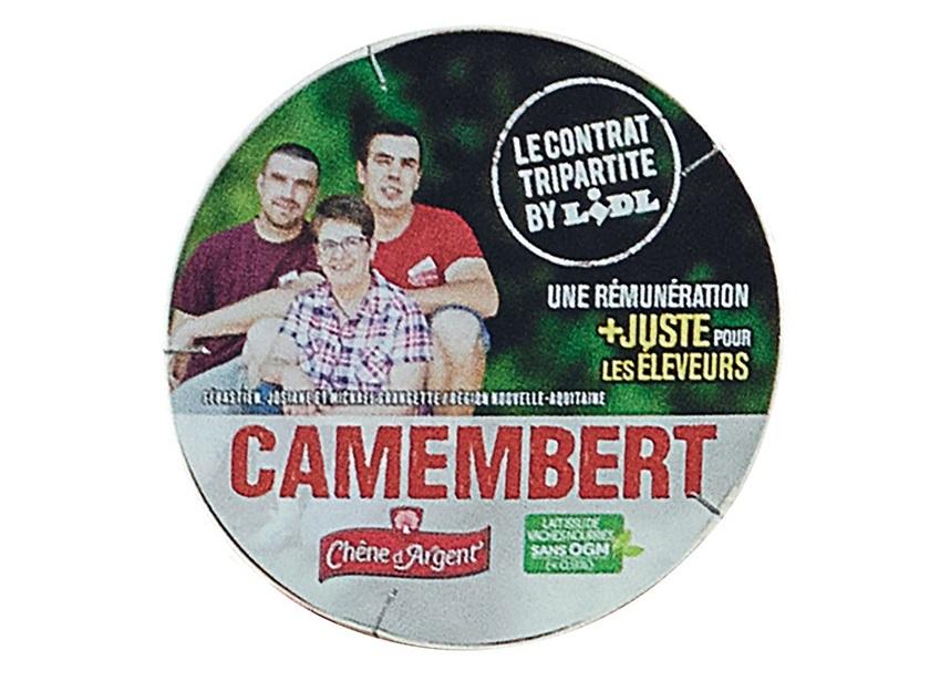 Sélection de fromages et de vins en promotion - Ex : Camembert sans OGM tripartite - 250 grammes