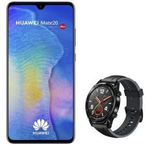 """Pack smartphone 6.53"""" Huawei Mate 20 (full HD+, Kirin 980, 4 Go de RAM, 128 Go, bleu) + montre connectée Huawei Watch GT Sport"""