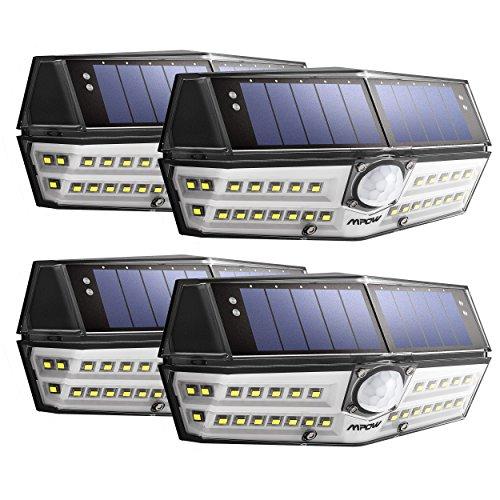 Lot de 4 Lampes solaires Mpow - IPX6, LEDs, Détection de mouvements, Etanches (vendeur tiers)