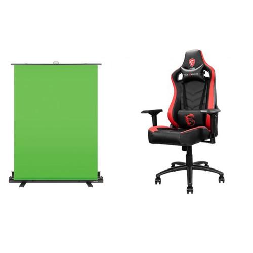 Fauteuil gaming MAG CH110 Noir et Rouge + Ecran fond vert