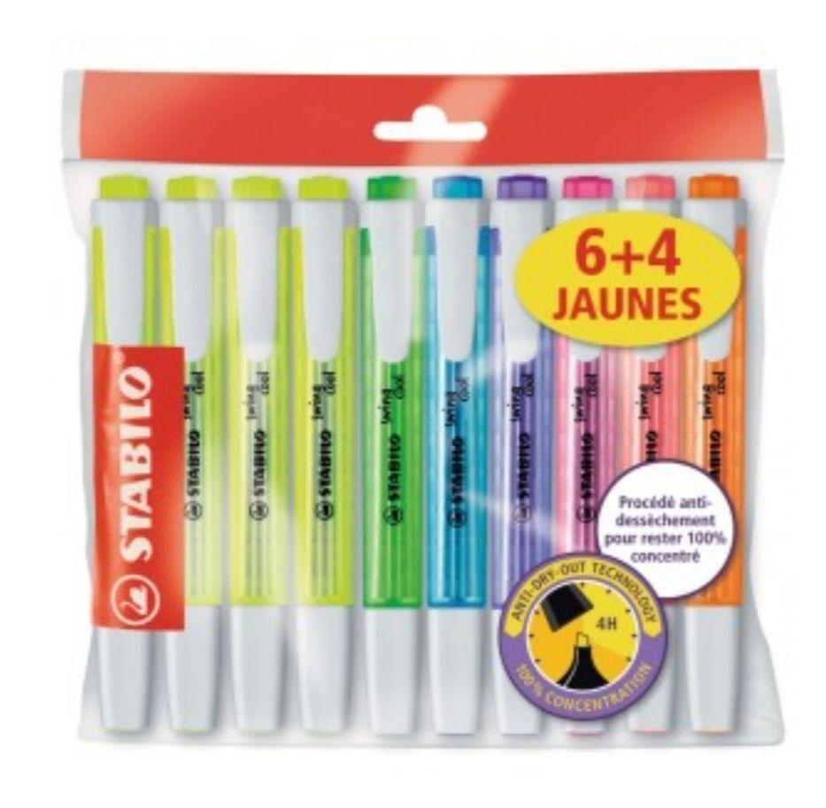 Lot de 4 surligneurs encres jaune fluorescentes + 6 coloris assortis Stabilo Swing Cool (via 3,15€ sur la carte de fidélité)