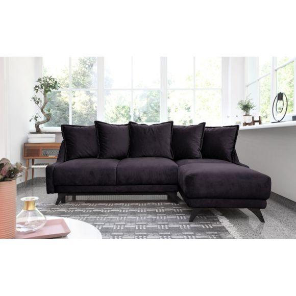 Canapé angle droit Convertible avec coffre gris foncé Bobochic New England - 156cm x 90cm x 223cm