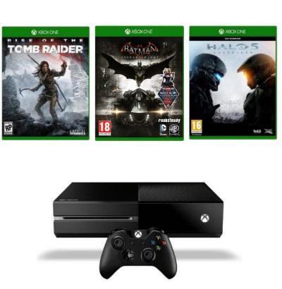 Console Microsoft Xbox One 1 To + Rise of the Tomb Raider + Halo 5 : Guardians (ou Forza 6) + Batman Arkham Knight