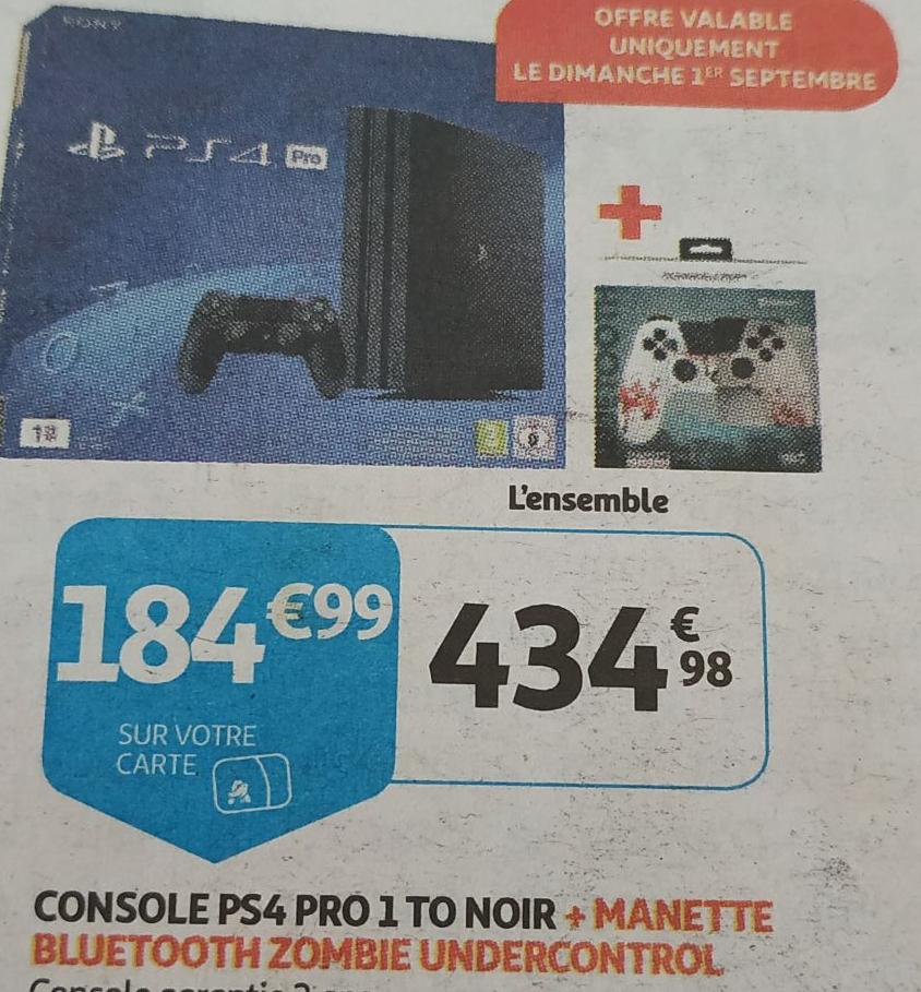 Console Sony PS4 Pro + 2ème Manettesans-fil  Zombie Undercontrol - 1To (Via 184.99€ sur la Carte Fidélité - Frontaliers Luxembourg)