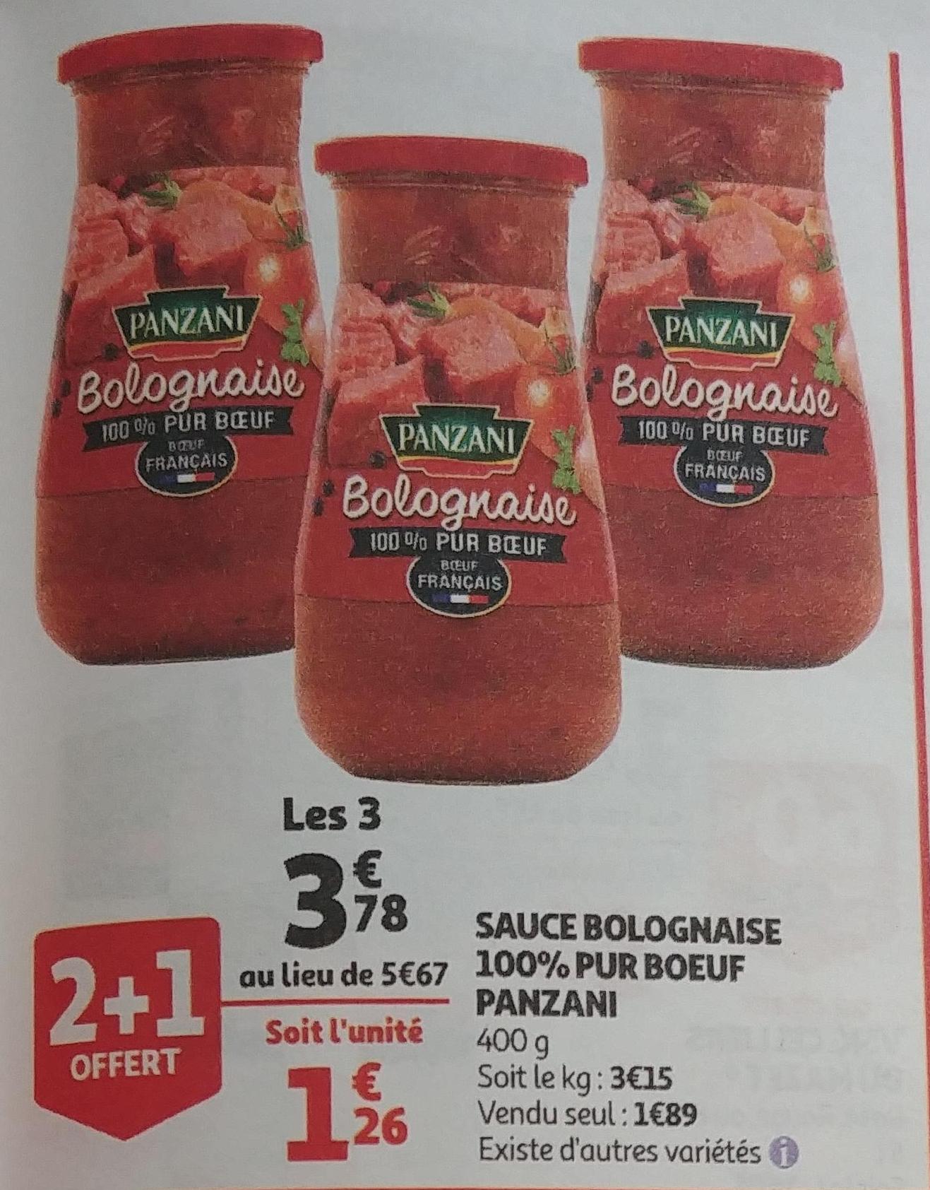3 Pots de sauce bolognaise Panzani Pur Boeuf - 400g (via Shopmium)