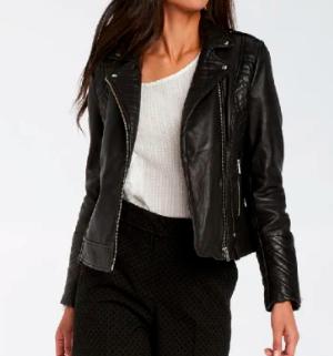 Tous les cuirs à 129.99€ - Ex : veste en cuir d'agneau style Rock - noir ou rouge (du 34 au 44)