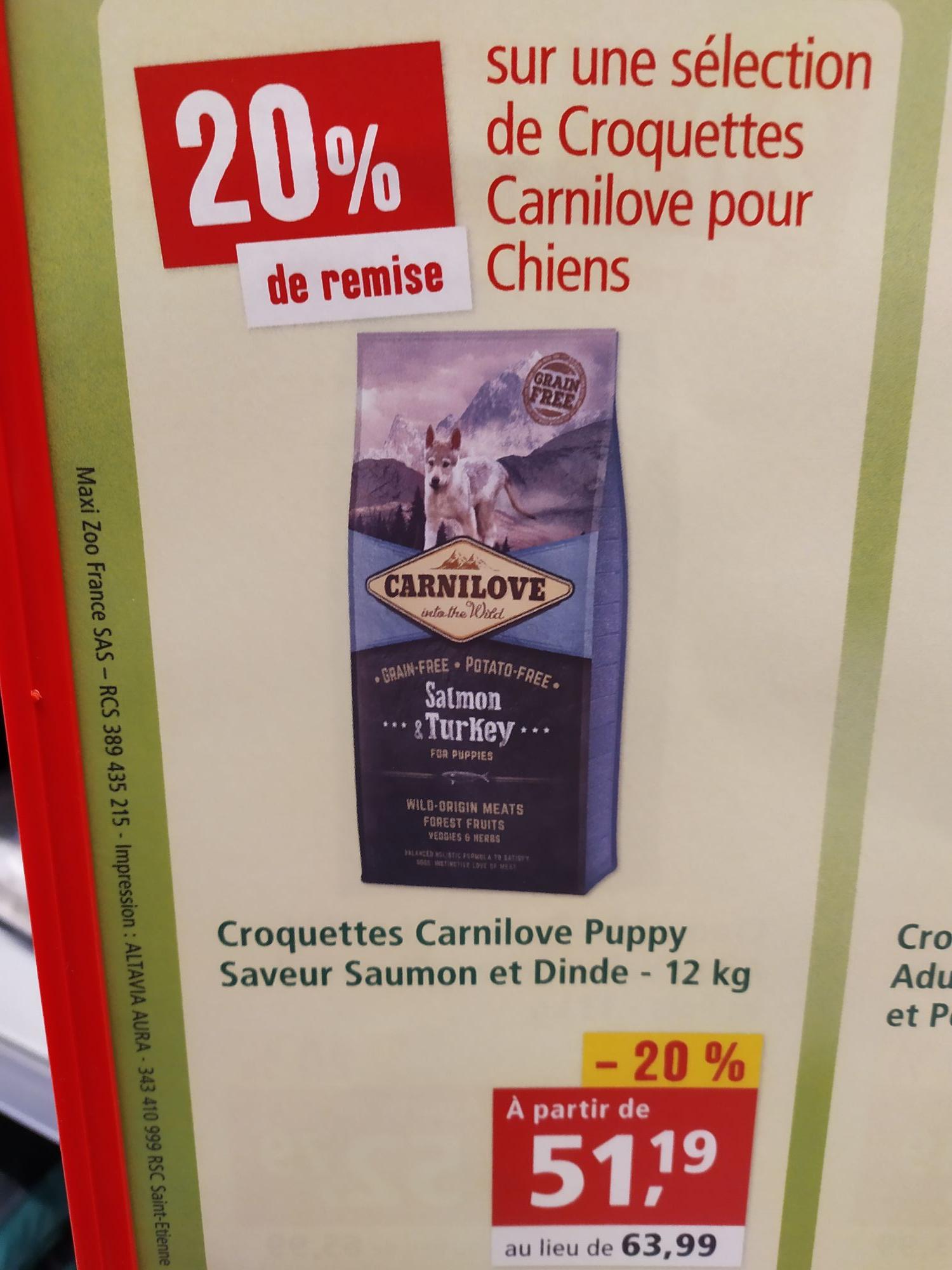 Sac de Croquettes Carnilove pour Chiens - 12Kg - Maxi Zoo Quimper & Fouesnant (29)