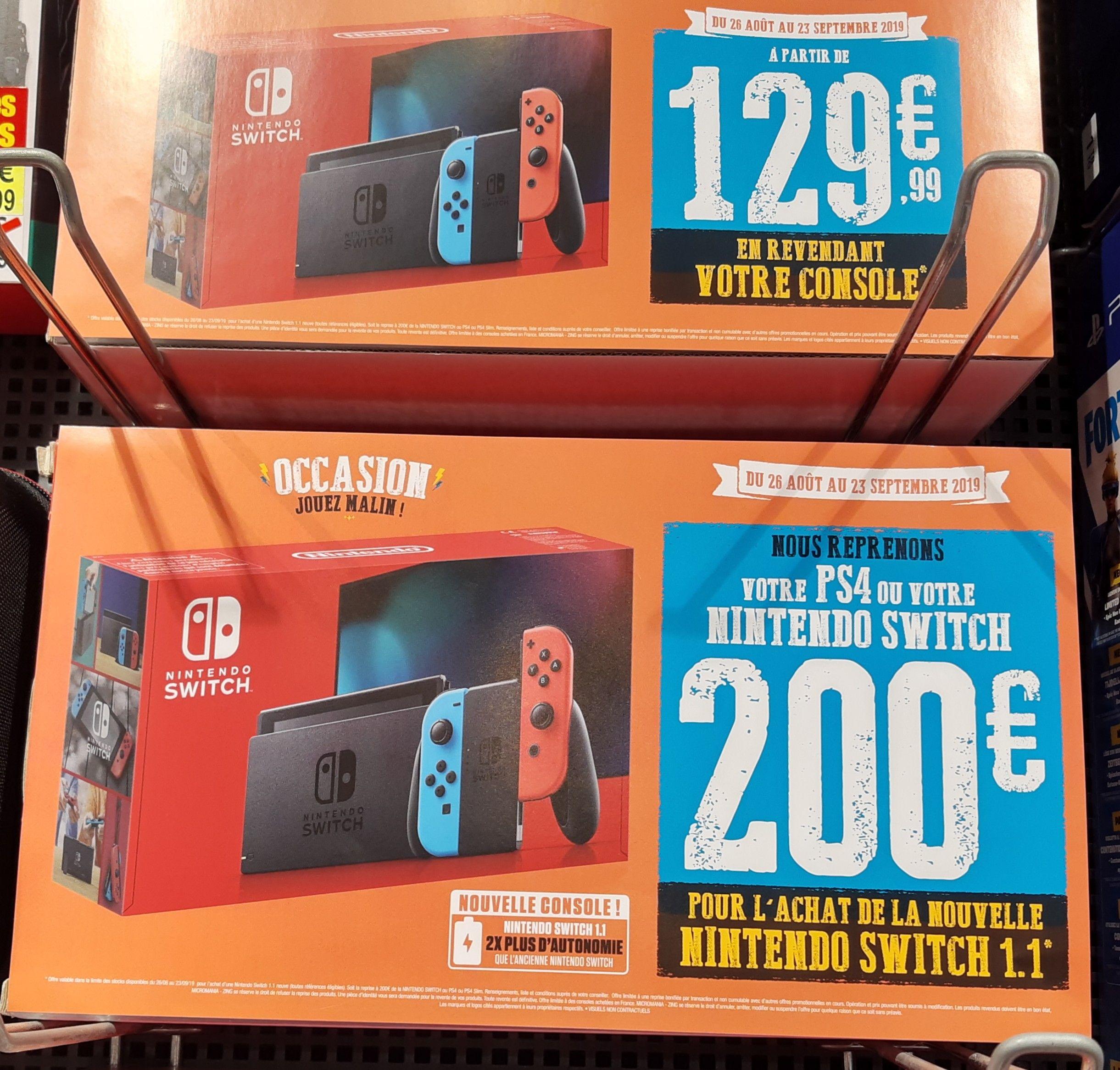 Console Nintendo Switch 2019 à partir de 129.99€ (sous condition de reprise d'une ancienne PS4 ou Switch)