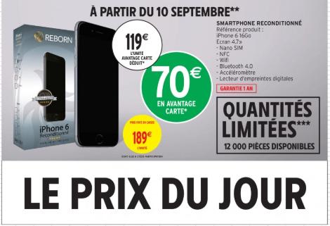"""Smartphone 4.7"""" Apple iPhone 6 (HD+, A8, 1 Go de RAM, 16 Go, noir) - reconditionné (via 70€ sur la carte de fidélité)"""