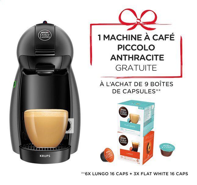 9 boîtes de capsules Nescafé Dolce Gusto + Machine à boissons Krups Piccolo KP100B - Anthracite (Frontaliers Belgique)