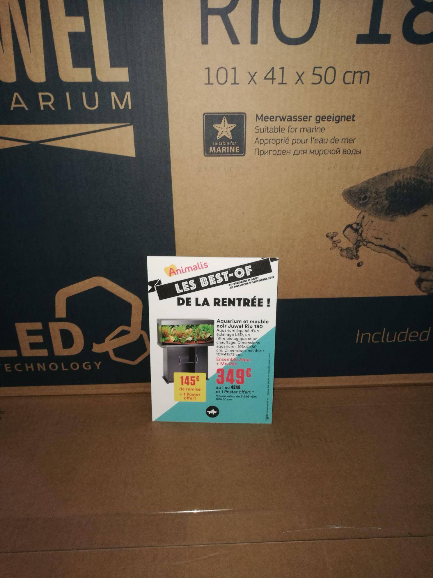 Aquarium et meuble Juwel Rio 180 - avec chauffage, éclairage LED et filtre biologique (101x41x50 cm, noir) + poster - Animalis Orgeval (78)