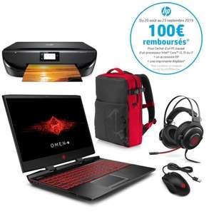 "PC Portable 15,6"" HP OMEN - i5-9300H, RAM 8Go, 1To HDD, SSD 128Go, GTX 1650 4Go + Imprimante HP Envy 5010 + Sac + Casque (Via ODR 100€)"
