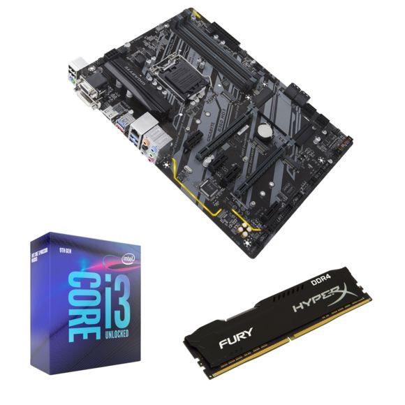 Kit évolution Processeur Intel i3-9100F + Carte mère ATX Gigabyte B360 HD3 + Barrette RAM HyperX Fury - 8 Go DDR4, 2666 MHz, CL16