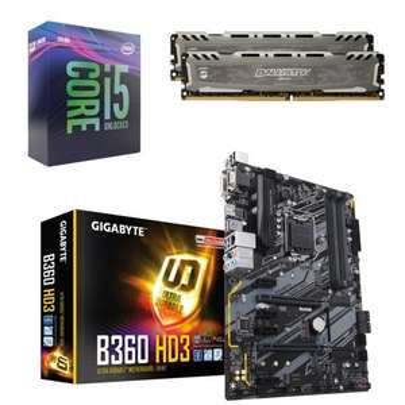 Kit d'évolution Processeur Intel Core i5 9400F + Carte mère Gigabyte B360 HD3 (ATX) + RAM Ballistix Sport LT - 16 Go (8 x 2 Go) - 3000Mhz