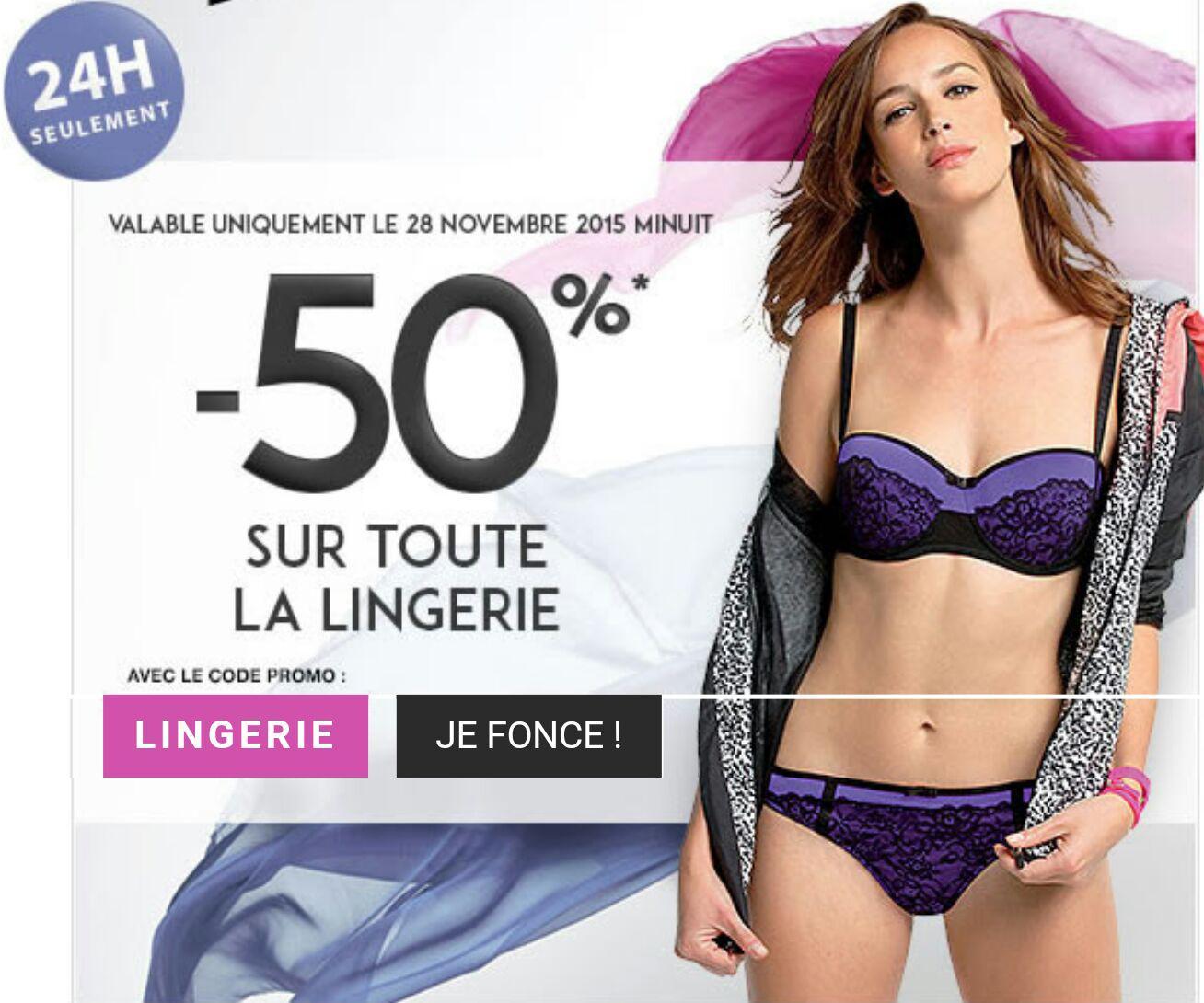 50% de réduction sur tout le rayon lingerie