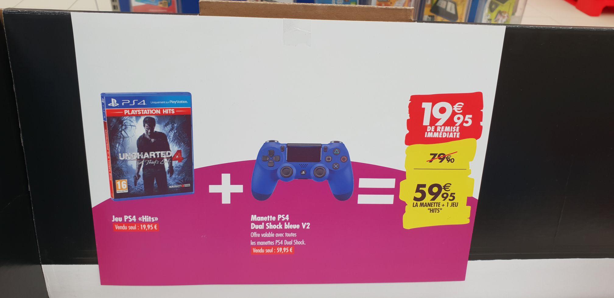 Manette Sony Dualshock V2 pour PS4 + 1 jeu PS4 Hits au choix - Carrefour Saran (45)