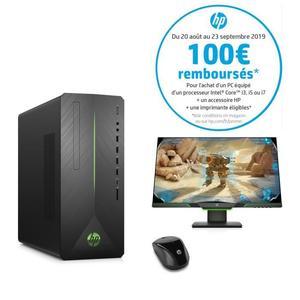 "Pc HP Pavilion HP790-0015nf  -i5-8400, 8Go RAM, 1To HDD, 128Go SSD, GTX 1080 + Ecran HP 25x 24,5"", FullHD + Souris sans-fils (Via ODR 100€)"