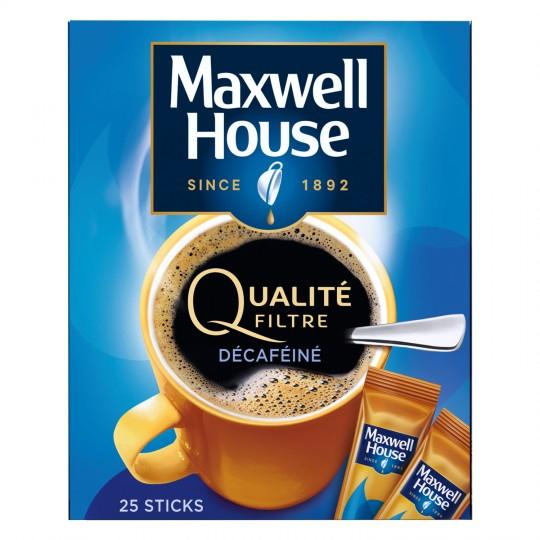 Lot de 3 Paquets de 25 sticks de café décaféiné MAXWELL HOUSE + 3 cours de sport offerts dans les salles l'Orange Bleue (Via Formulaire)