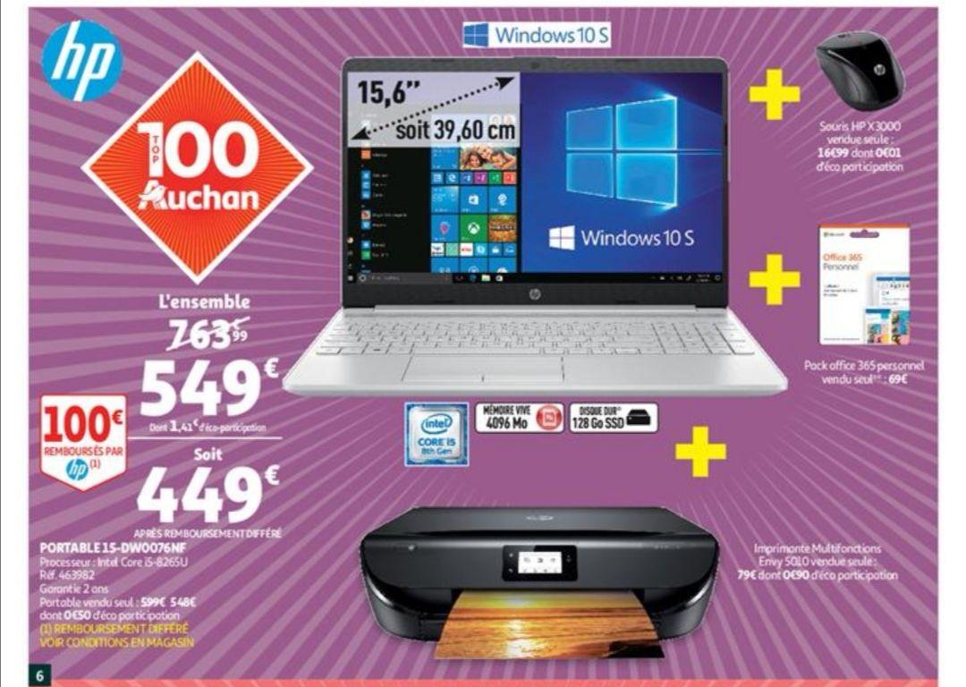 "Pack PC Portable 15.6"" HP DW0076NF (i5-8265U, RAM 4Go, SSD 128Go, Win10S) + Pack Office + Imprimante + Souris HP sans-fil (via ODR 100€)"