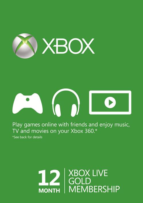 Abonnement Xbox Live Gold Xbox pendant 12 Mois (Dématérialisé)