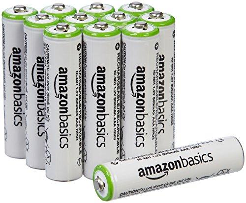 Lot de 12 piles rechargeables AmazonBasics - Ni-MH, Type AAA, 800 mAh