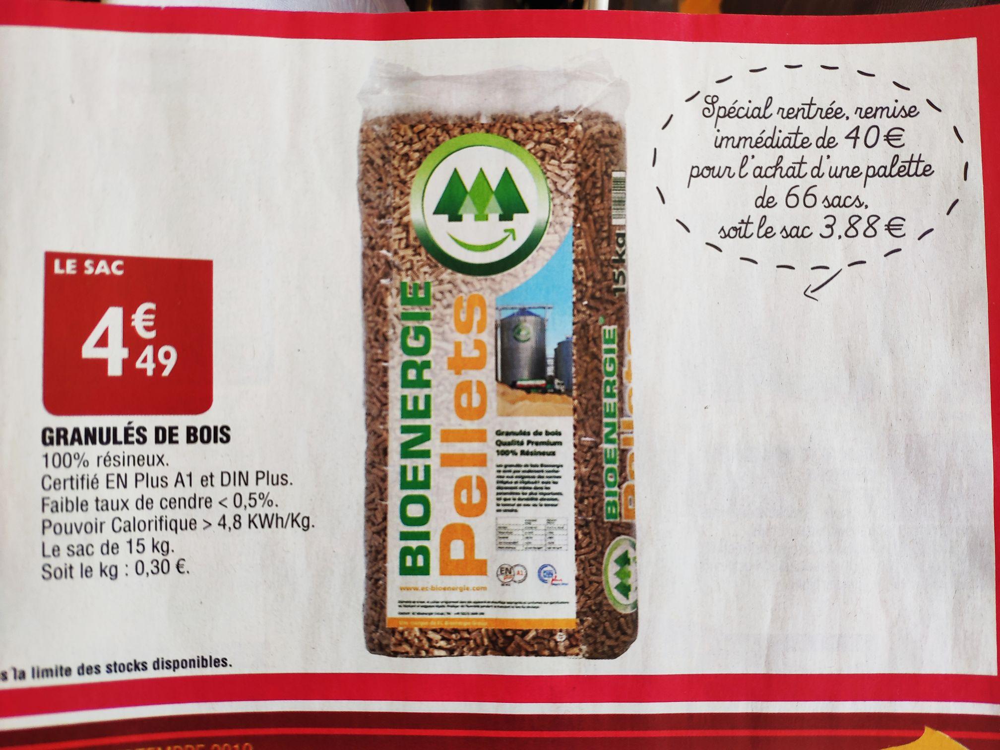 66 sacs de 15kg de Granulés de bois - Bi1 Supermarchés