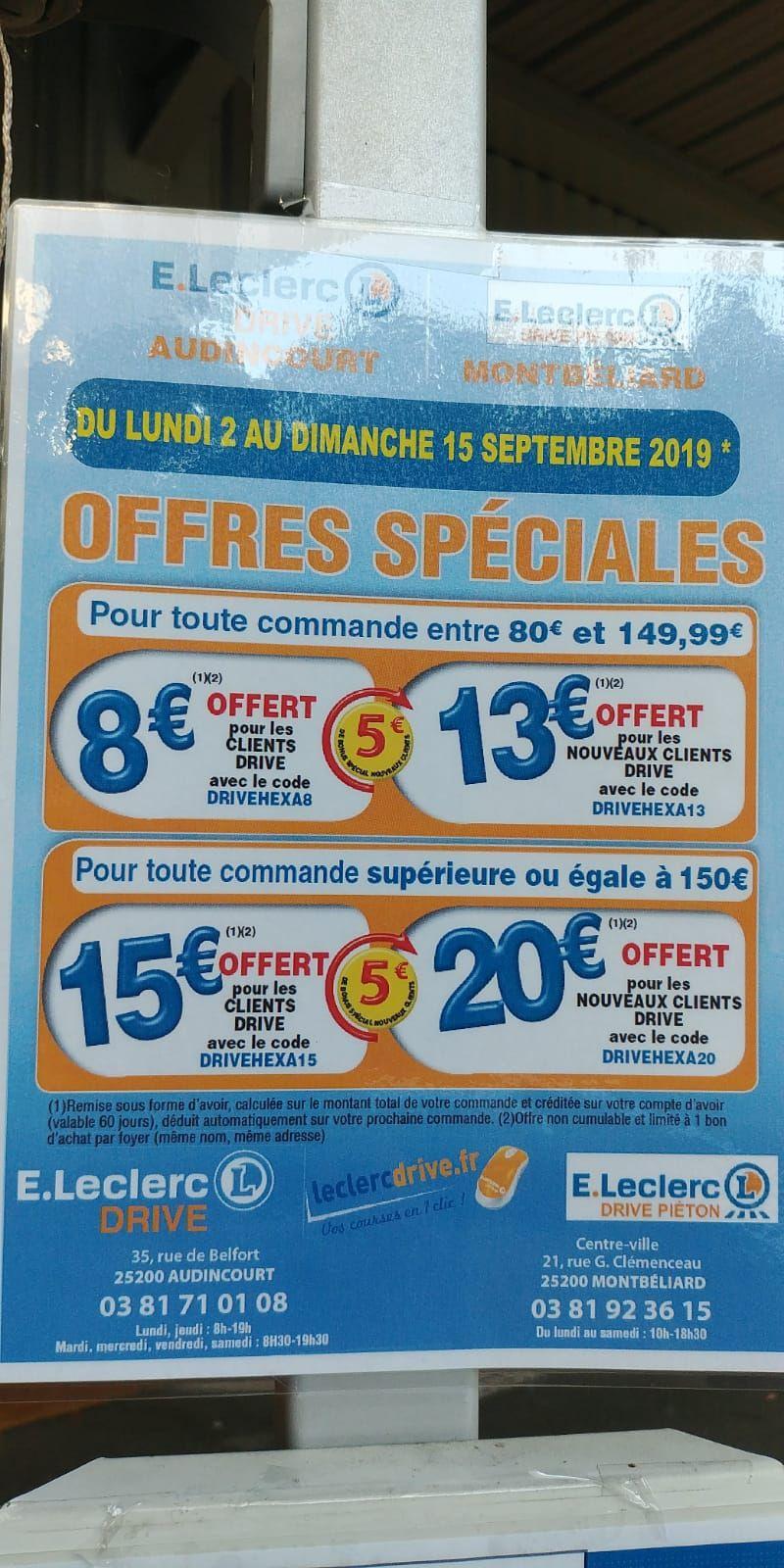 15€ de réduction à partir de 150€ d'achat (ou 20€ pour les nouveaux clients) - Audincourt, montbeliard (25)