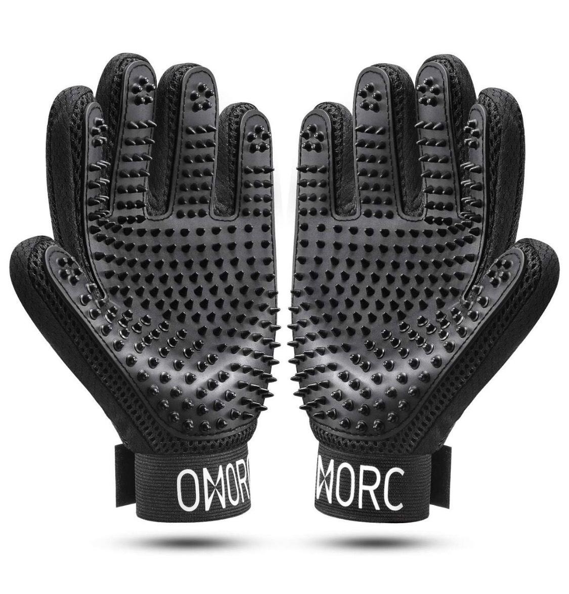 Paire de gants de toilette pour chien & chat Omorc - Noir (Vendeur tiers)